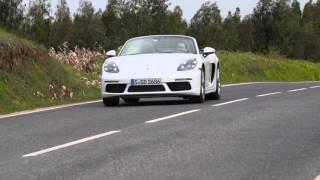 Porsche 718 Boxster in White Driving Video | AutoMotoTV