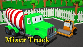 Cartoon color Mixer truck Road roller for kids   color vehicle