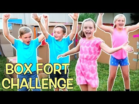 BOX FORT CHALLENGE Girls VS Boys Teams Race to Build the Best Box Fort