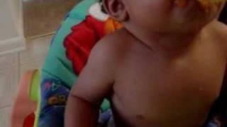 Tamel eating sweet potatos 9 months