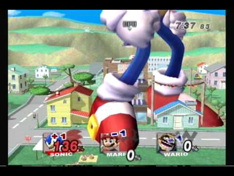 Brawl Hacks Giant Growing Sonic Super Sonic v.s. Wario and Mario