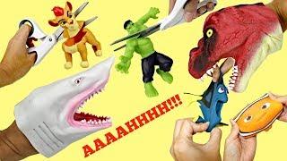 CUTTING OPEN Squishy Lion Guard Kion Finding Dory Nemo Avengers Hulk Shark Dino Hand Puppets / TUYC