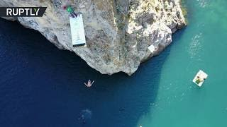Deep Black Sea: Cliff Diving World Cup takes place in Simeiz, Crimea