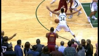 LeBron James throws ball off the back of Antetokounmpo and hits clutch 3!