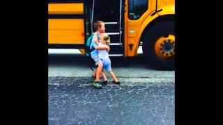 Best big brother and little sister duo! School bus #DailyHug