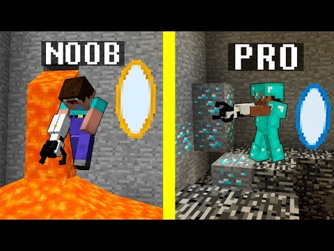 Minecraft Noob vs. Pro PORTAL GUN challenge funny Minecraft battle