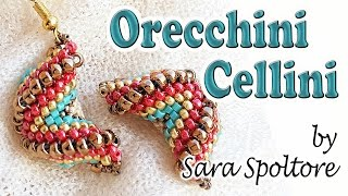Tutorial orecchini spirale Cellini alternata zig zag - Come fare orecchini Peyote con perline
