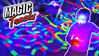 GIANT MAGIC TRACKS TOY MEGA BUILD CAR CHALLENGE!! As Seen on TV Carl and Jinger