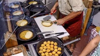 Italy Street Food. Soft Cheese Melted over Potatoes Pancake