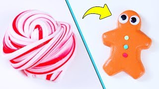 DIY Christmas Slime! Learn How To Make Candy Cane, Gingerbread, Snowman