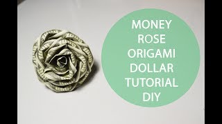 Money Rose Origami Folded Dollar Tutorial DIY Flower