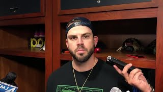 Mike Moustakas talks about hitting against Francisco Liriano and his homer that won the game, and a