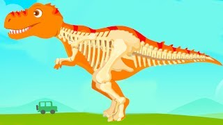 Fun Jurassic Dig Kids Games - Baby Find Dinosaur Bones With Cute Vehicles - Dino Game For Children
