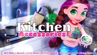 DIY - How to Make: Doll Kitchen Accessories | Hot Plate | Knives | Pots & more