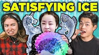 ADULTS REACT TO ODDLY SATISFYING ICE COMPILATION (Carving, Eating)