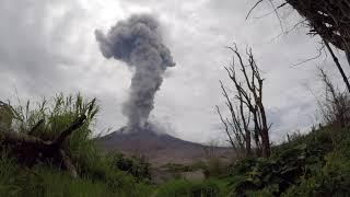 Sinabung volcano eruption 27.09.2017, Sumatra, Indonesia