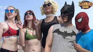 SPIDER-MAN & BATMAN at the Beach VS Harley Quinn & Gotham Sirens + Spider-Gwen