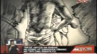 Trese anyos na babae nilasing at ginahasa umano ng tatlong binatilyo