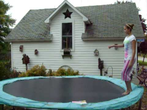 Me doing gymnastics on the trampoline