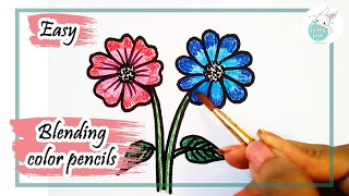 how to draw simple flowers drawing for kids using staedtler watercolor pencil