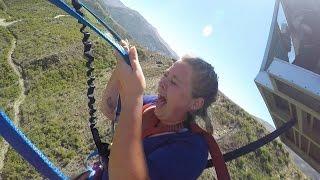 GIRL FREAKS OUT ON NEVIS SWING! QUEENSTOWN, NEW ZEALAND