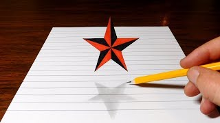 How to Draw a Floating Star - 3D Trick Art Optical Illusion
