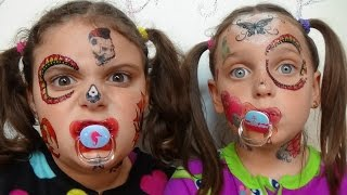 Bad Baby Face Tattoo Fail Victoria & Annabelle Toy Freaks Family