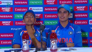 U19CWC SF Press Conference: Prithvi Shaw and Shubman Gill (India)