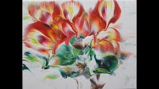 (324) flower dip (5 flowers) with orange 24x30cm