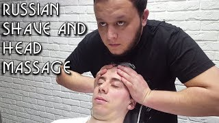 💈 Russian Barber Style - Face Shave with Head Massage and Hot Towel - ASMR intentional sounds