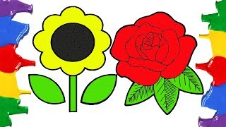 Coloring Pages How to Draw and Color Flowers - Education and Learning Videos for Toddlers