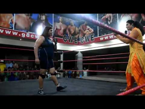 Desi Girl in WWE Ring  - What a move by Punjabi Girl