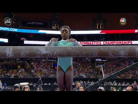 Simone Biles Completes Her Incredibly Difficult Balance Beam Routine Summer Champions Series