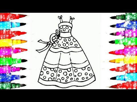 How To Draw and Color Girls Glamour Clothes Coloring Pages Kids Videos To Learn Art l Learn Colors