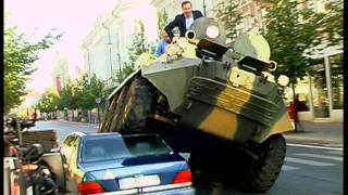 Vilnius Mayor A.Zuokas Fights Illegally Parked Cars with Tank