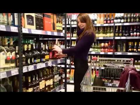 NiNA supermarket shopping in high heels and wetlook leggings
