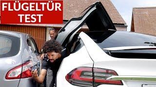Tesla Model X Flügeltüren Test In Parkhaus + Enge Parklücke