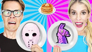 Game Master Pancake Art Challenge Battle Royale to Stop GMI (Roblox and Fortnite) Matt and Rebecca
