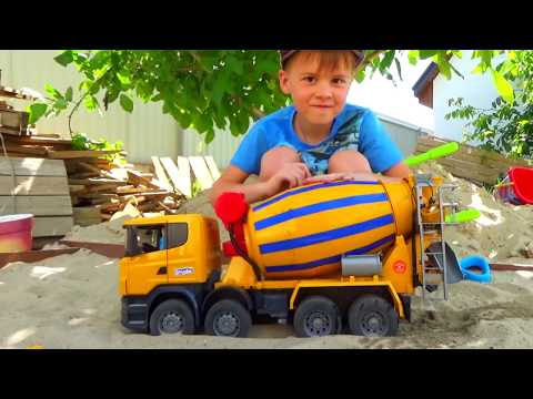 Funny stories about Tractor Excavator and Truck compilation Alex ride on Power Wheels