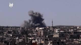 عدد من المشاهد لغارات الطيران الحربي على أحياء درعا البلد في مدينة درعا .