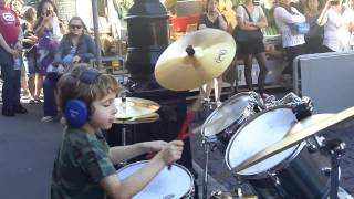 Young Jagger Alexander seen here busking at the Rocks Market in Sydney