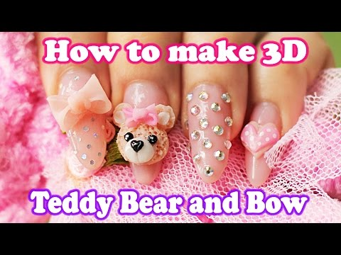 How to make 3D teddy bear and nude acrylic nails