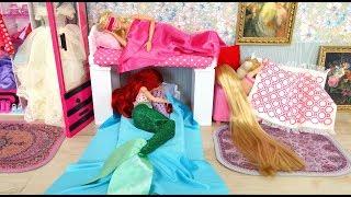 Barbie Little Mermaid Ariel Rapunzel Bunk Bed House Kitchen Breakfast Morning Routine