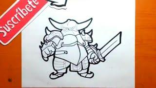 Como dibujar al P.E.K.K.A — CLASH ROYALE / how to draw p.e.k.k.a - clash royale