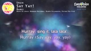 Barei - Say Yay! (Spain) - [Karaoke version]