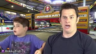Nintendo SWITCH! Real Life GO-CART Racing SKIT + Video Gaming NEW MARIO KART 8 DELUXE HobbyKidsTV