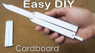 How to make Butterfly knife from Cardboard for practicing tricks - EASY TUTORIAL