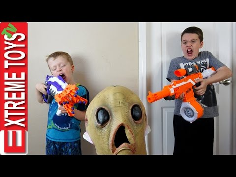 Alien Invasion Creepy Alien Creature Nerf Battle Extra Terrestrial Attacks Ethan and Cole