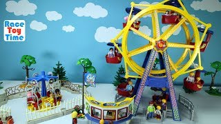 Playmobil Amusement Park Fun Toys Ferris Wheel and Kids Carousel Playset Build and Play