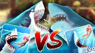 HUNGRY SHARK WORLD vs HUNGRY SHARK EVO - New Megalodon VS Old Megalodon Gameplay